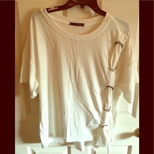 Harlowe and Graham white embellished top